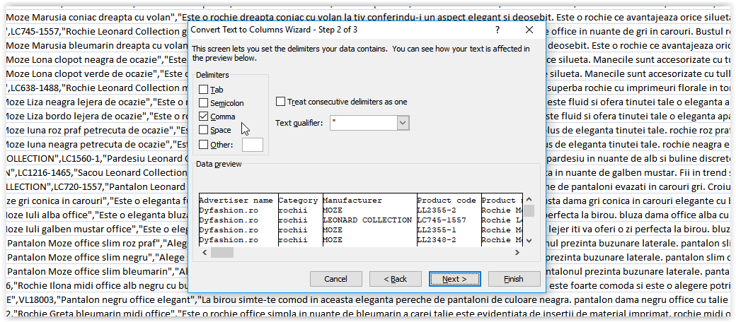 Import feed CSV in Excel