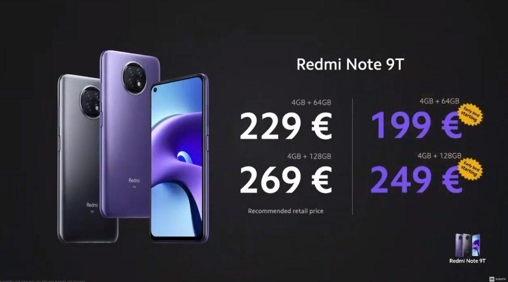 Pret Xiaomi Redmi Note 9T